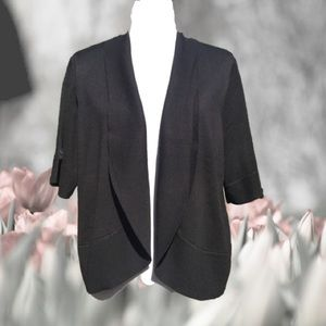 Open Front Cardigan Sweater Short Sleeve Black 2X